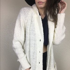 Vintage Knit Button Front Cream Acrylic Cardigan